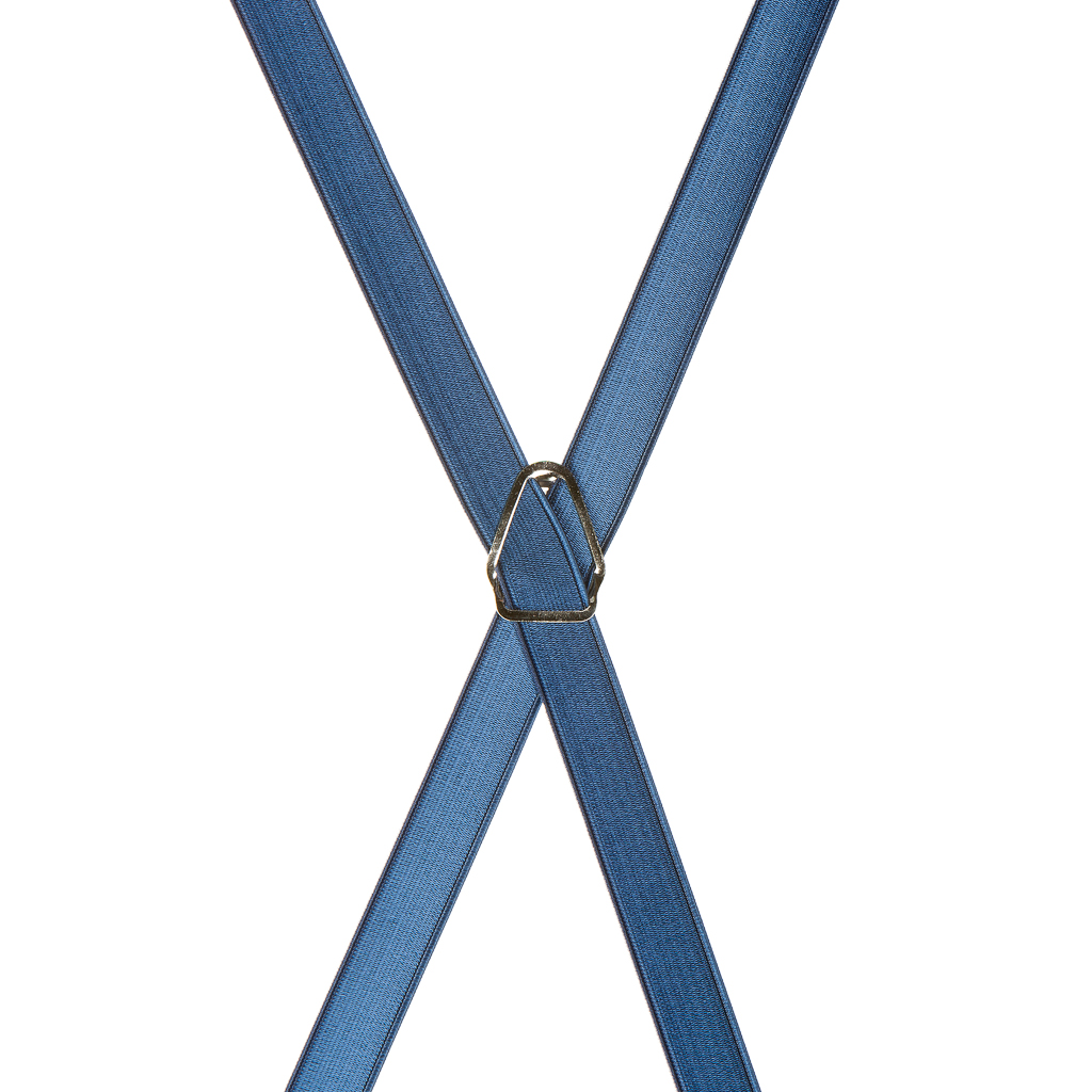 Satin Finish Suspenders in Powder Blue - Rear View