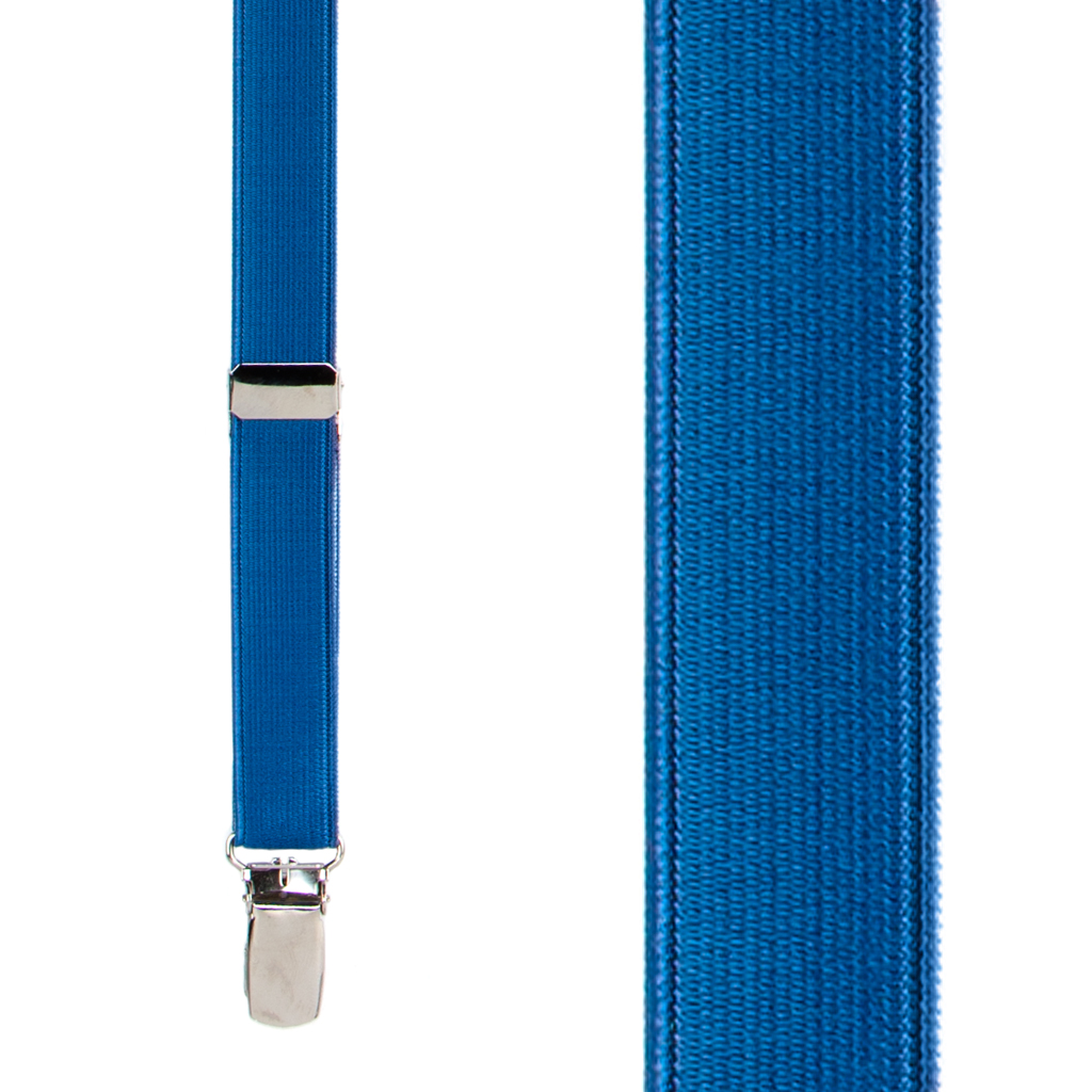 Satin Finish Suspenders in Powder Blue - Front View