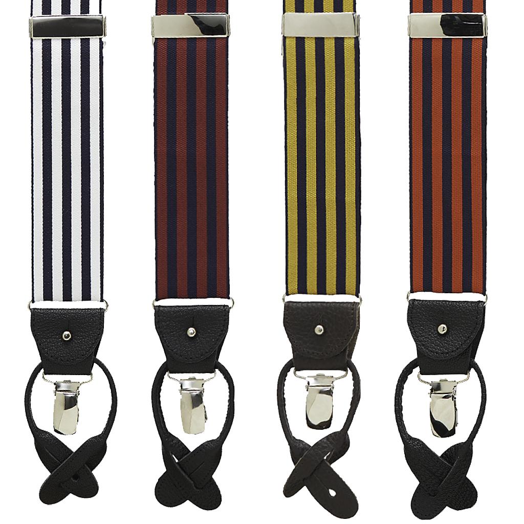 Barathea Equal Stripe Convertible Suspenders