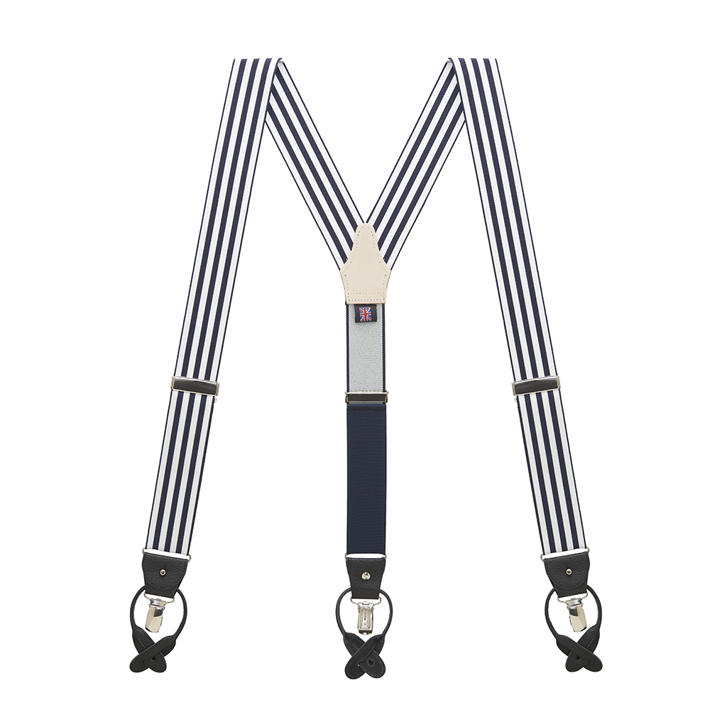 Barathea Equal Stripe Convertible Suspenders - Full View