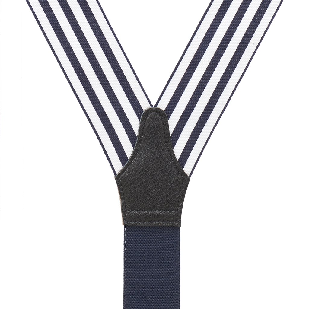 Barathea Equal Stripe Convertible Suspenders - Rear View