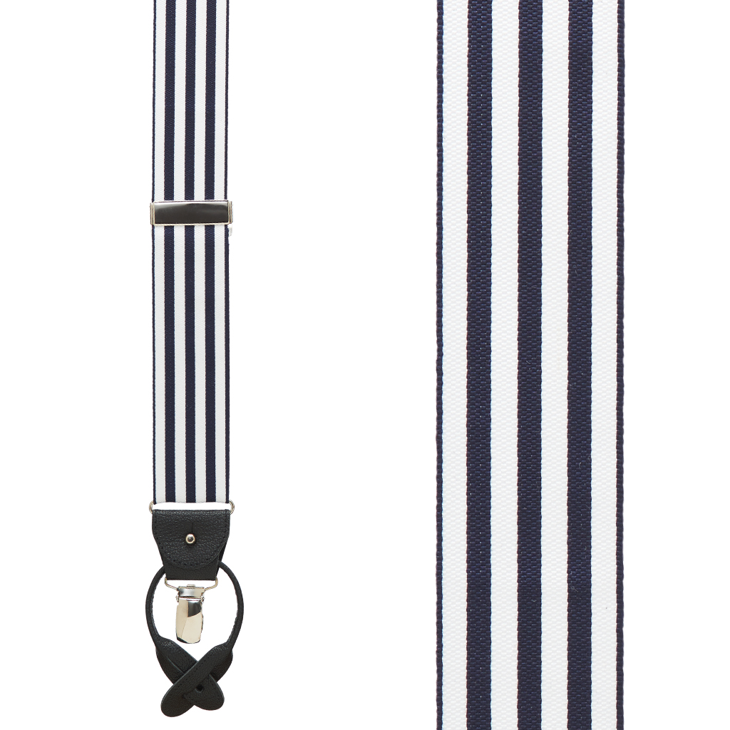 Barathea Equal Stripe Convertible Suspenders - Front View