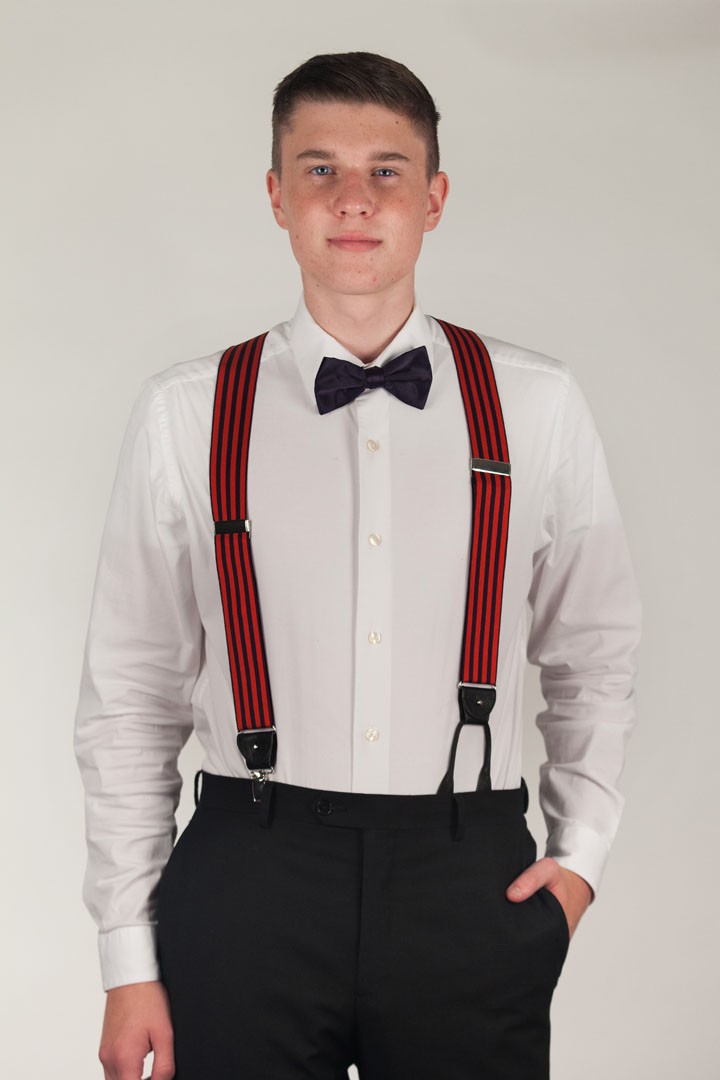 Barathea Equal Stripes Convertible Suspenders
