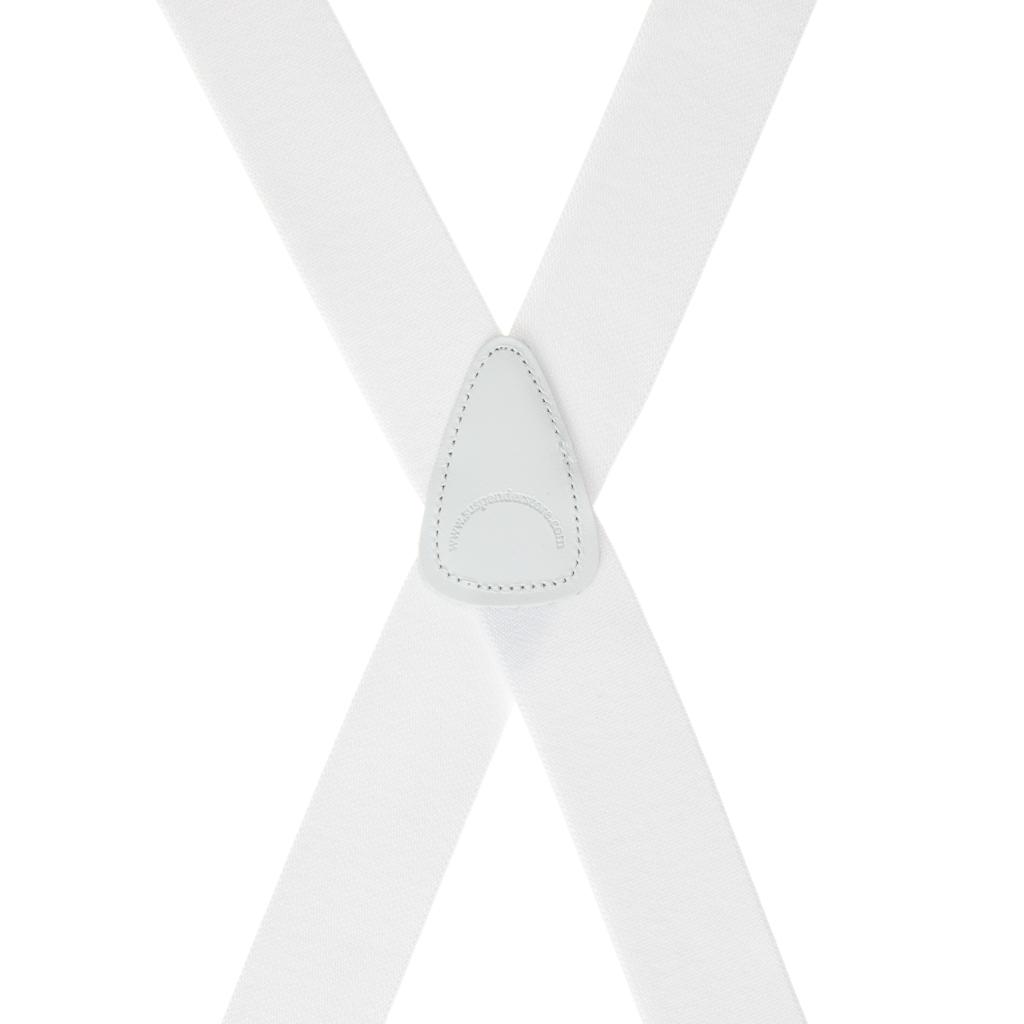Rear View - 1.5 Inch Wide Brass Clip Suspenders - WHITE