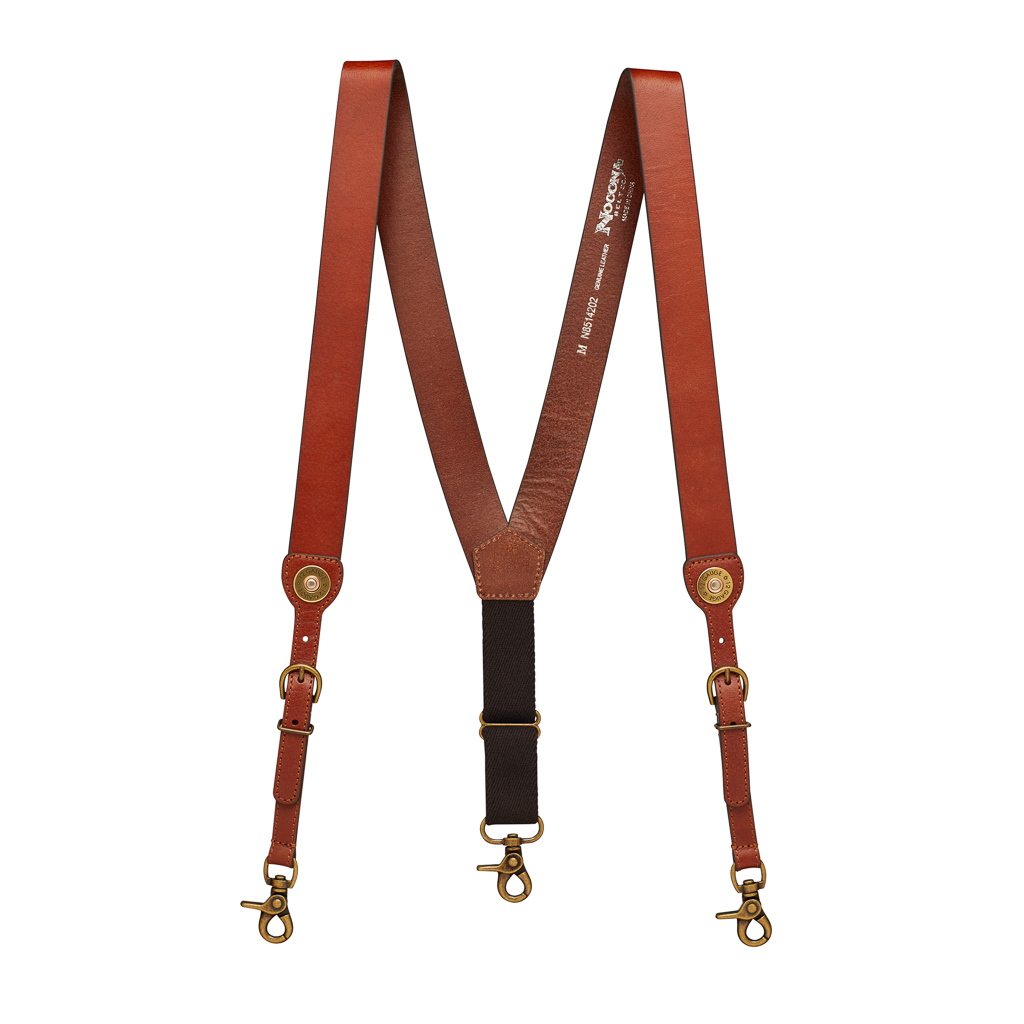 12 Gauge Western All Leather Suspenders - Full View
