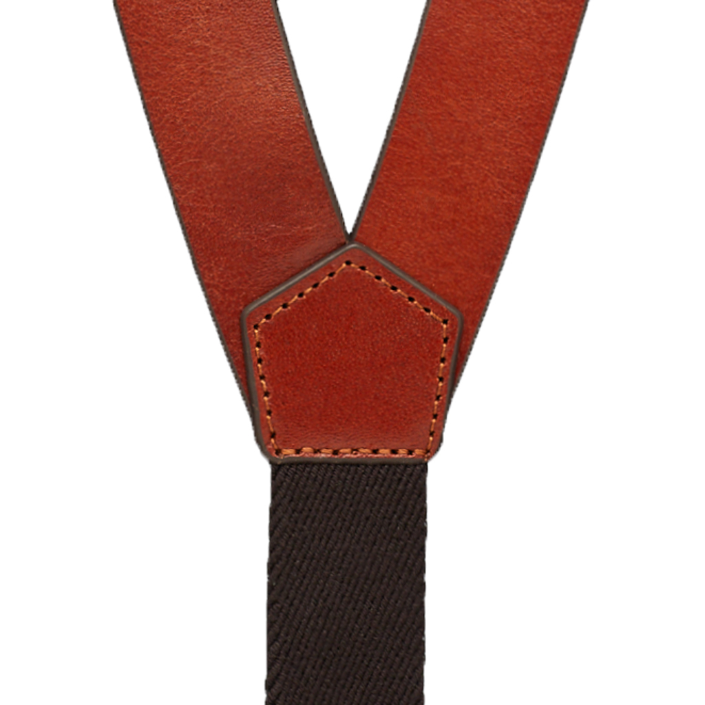 12 Gauge Western All Leather Suspenders - Rear View