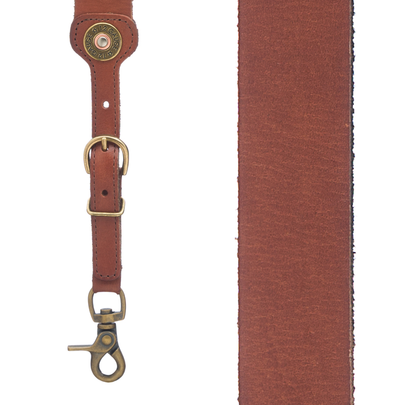 12 Gauge Western All Leather Suspenders - Front View