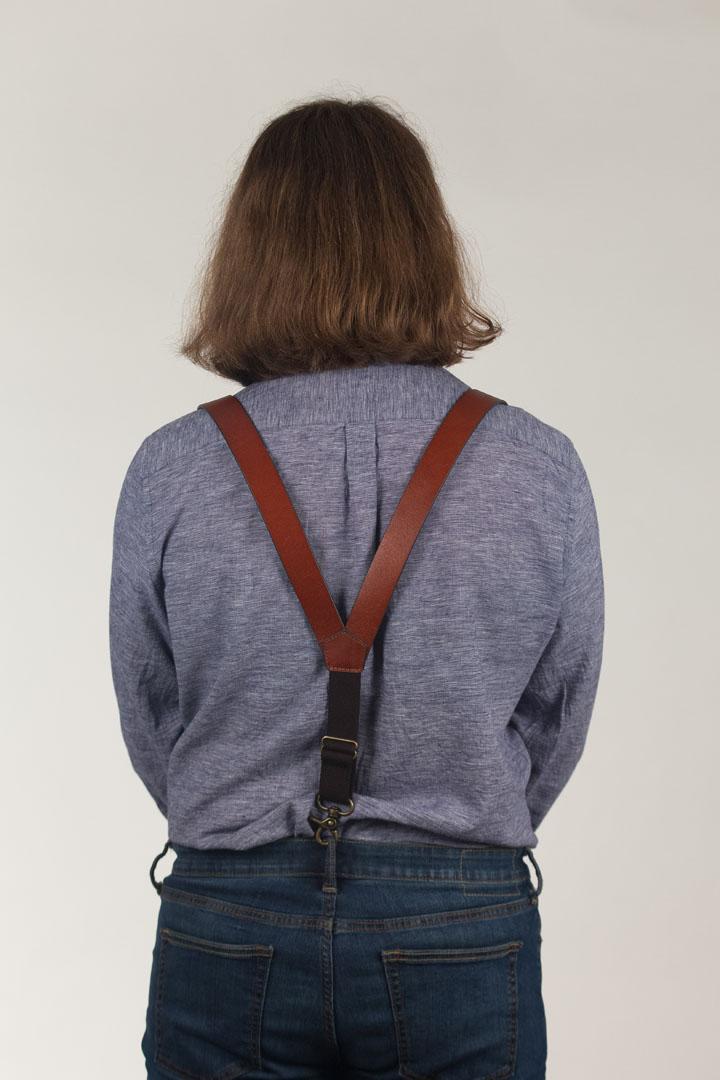 Model wearing suspenders
