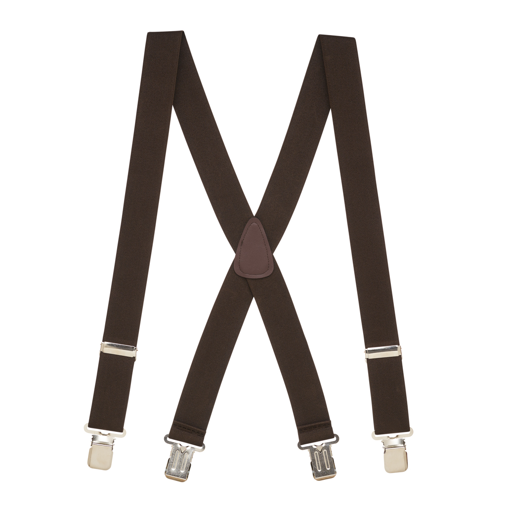 Full View - 1.5 Inch Wide Construction Clip Suspenders - BROWN