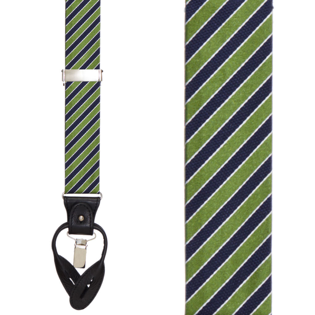 Diagonal Stripe Suspenders - Convertible End - Green Front View