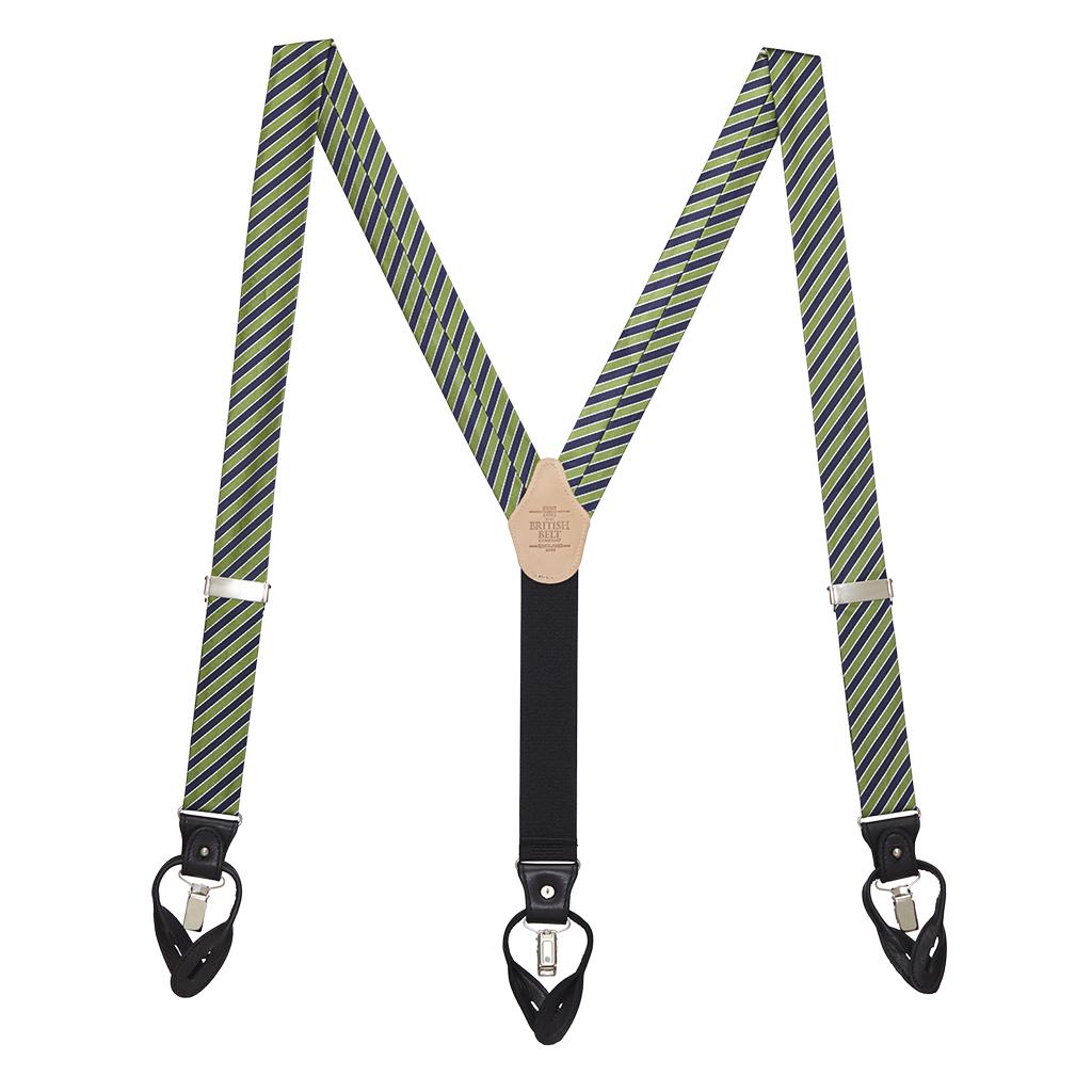 Diagonal Stripe Suspenders - Convertible End - Green Full View