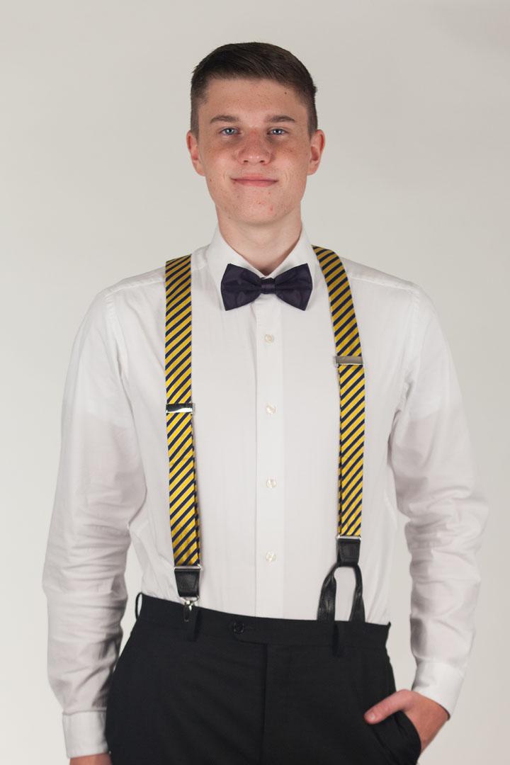 Model Wearing Diagonal Stripe Suspenders - Convertible End - Front View