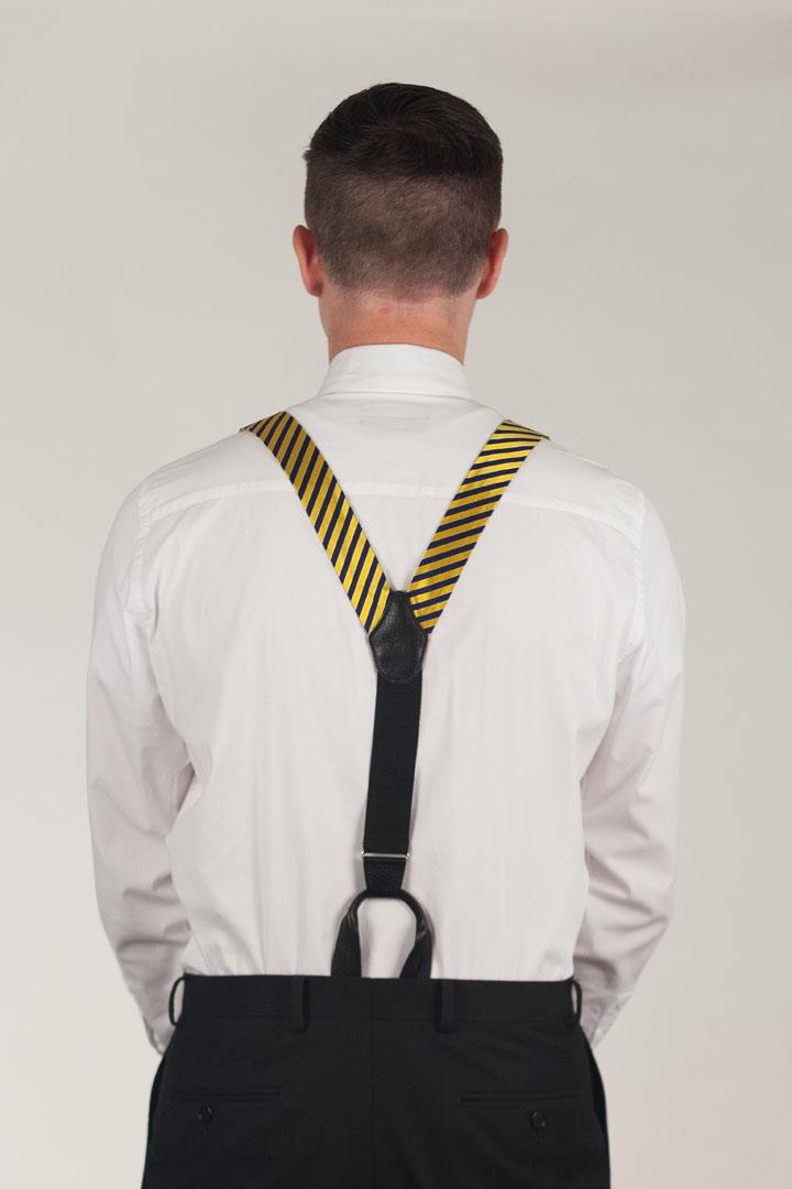 Model Wearing Diagonal Stripe Suspenders - Convertible End - Rear View