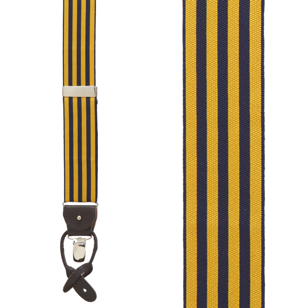 Gold & Navy Equal Stripe Barathea Suspenders Front View