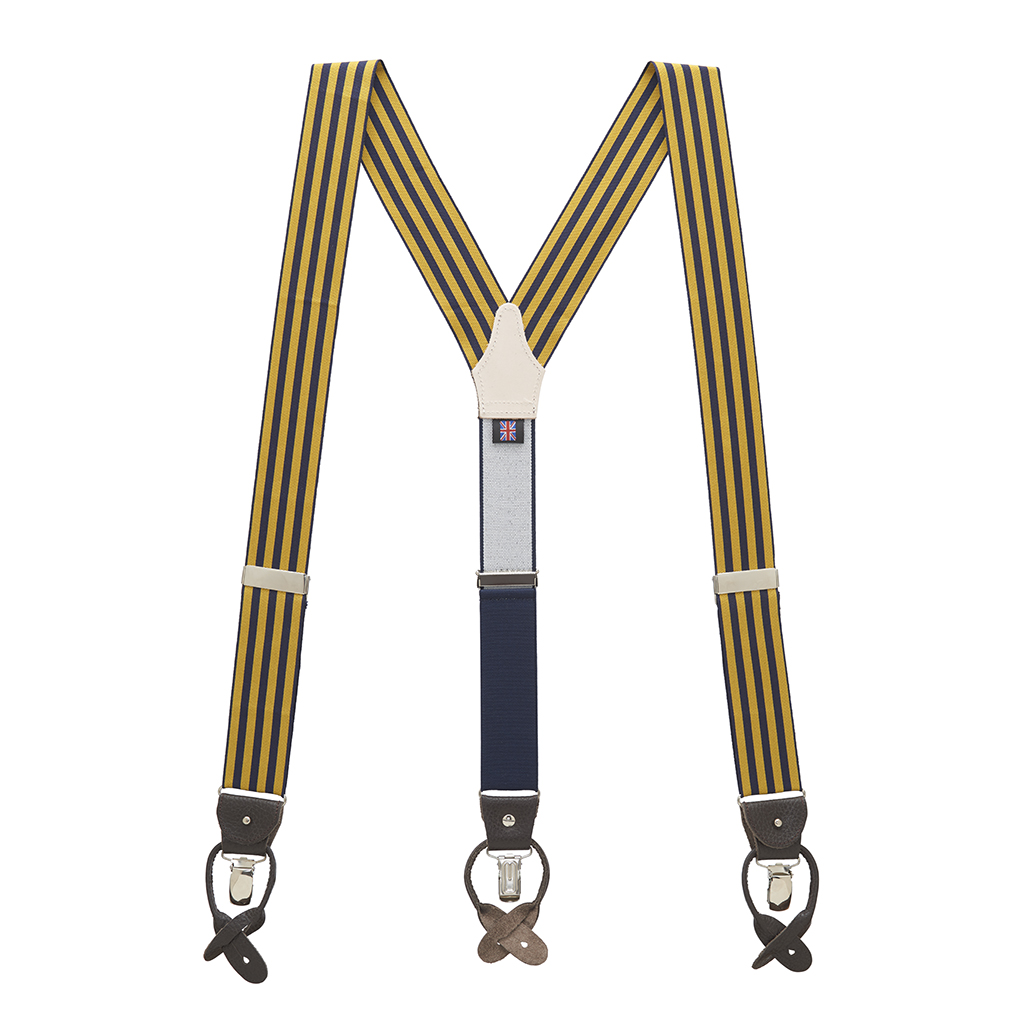 Gold & Navy Equal Stripe Barathea Suspenders Full View