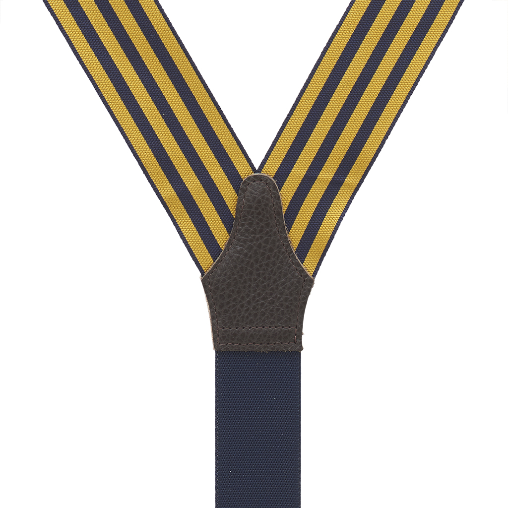 Gold & Navy Equal Stripe Barathea Suspenders Rear View