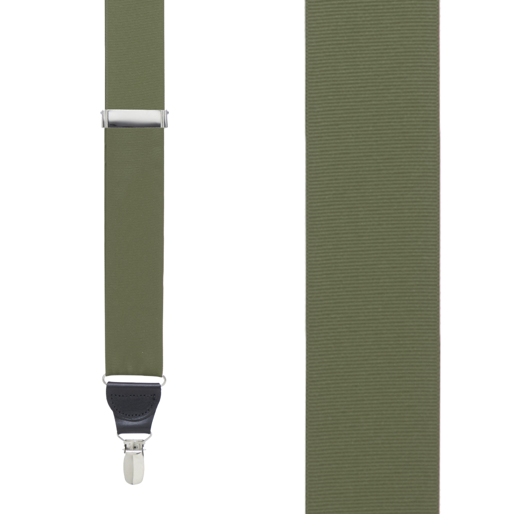 Grosgrain Suspender in Olive - Front View