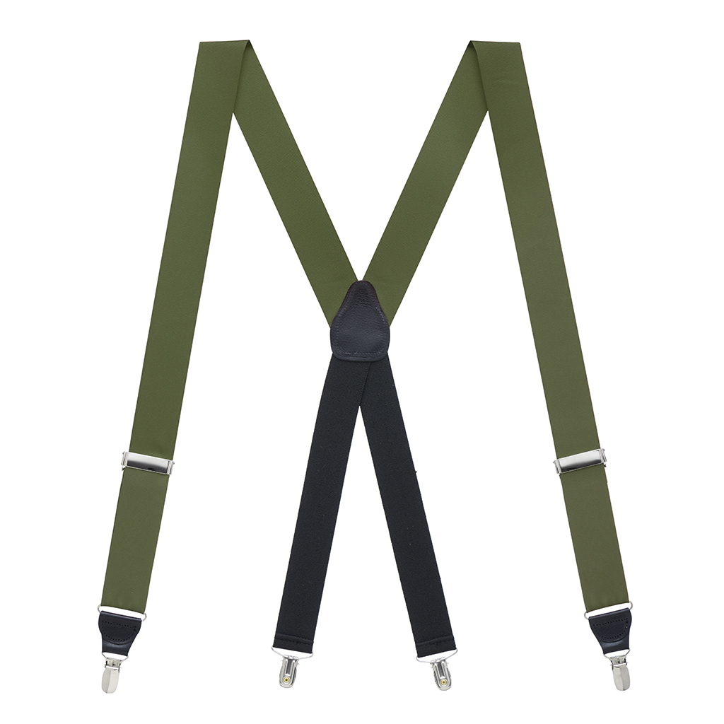 Grosgrain Suspender in Olive - Full View
