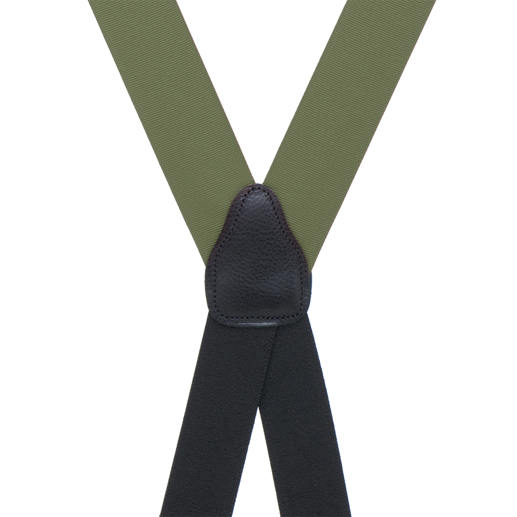 Grosgrain Suspender in Olive - Rear View