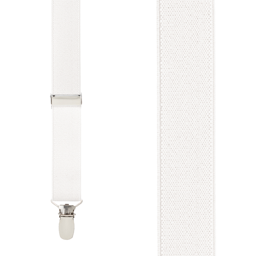 1 Inch Wide Clip Y-Back Suspenders in Ivory - Front View