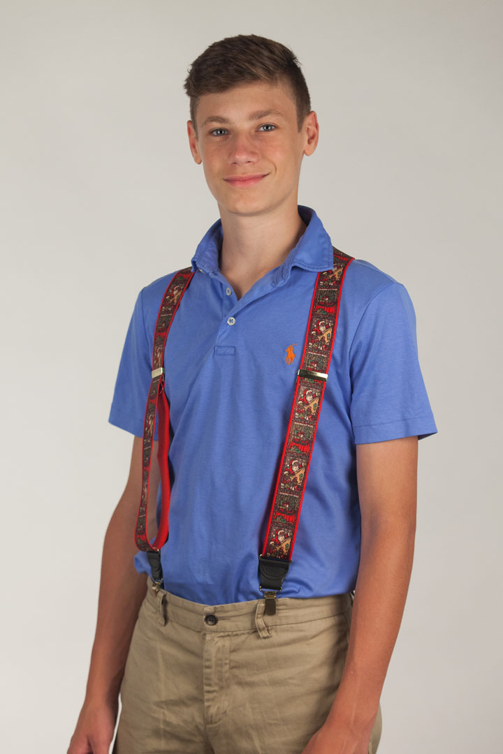 Kris Kringle Christmas Suspenders - Clip