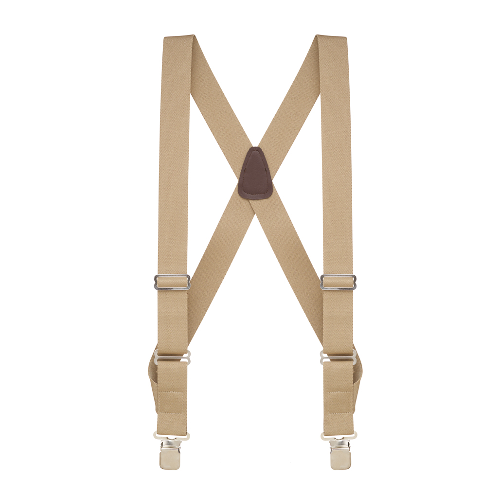 Tan Side Clip Suspenders, 1.5-Inch Wide - Construction Clip - Full View