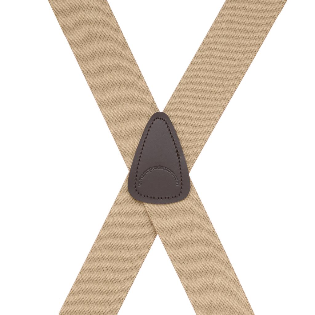 Tan Side Clip Suspenders, 1.5-Inch Wide - Construction Clip - Rear View
