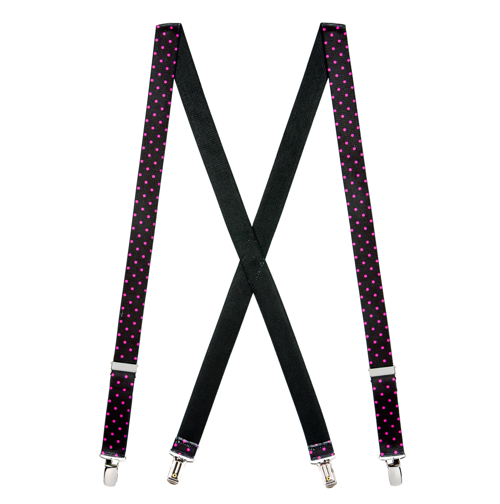Pink Polka Dots on Black Suspenders - Full View