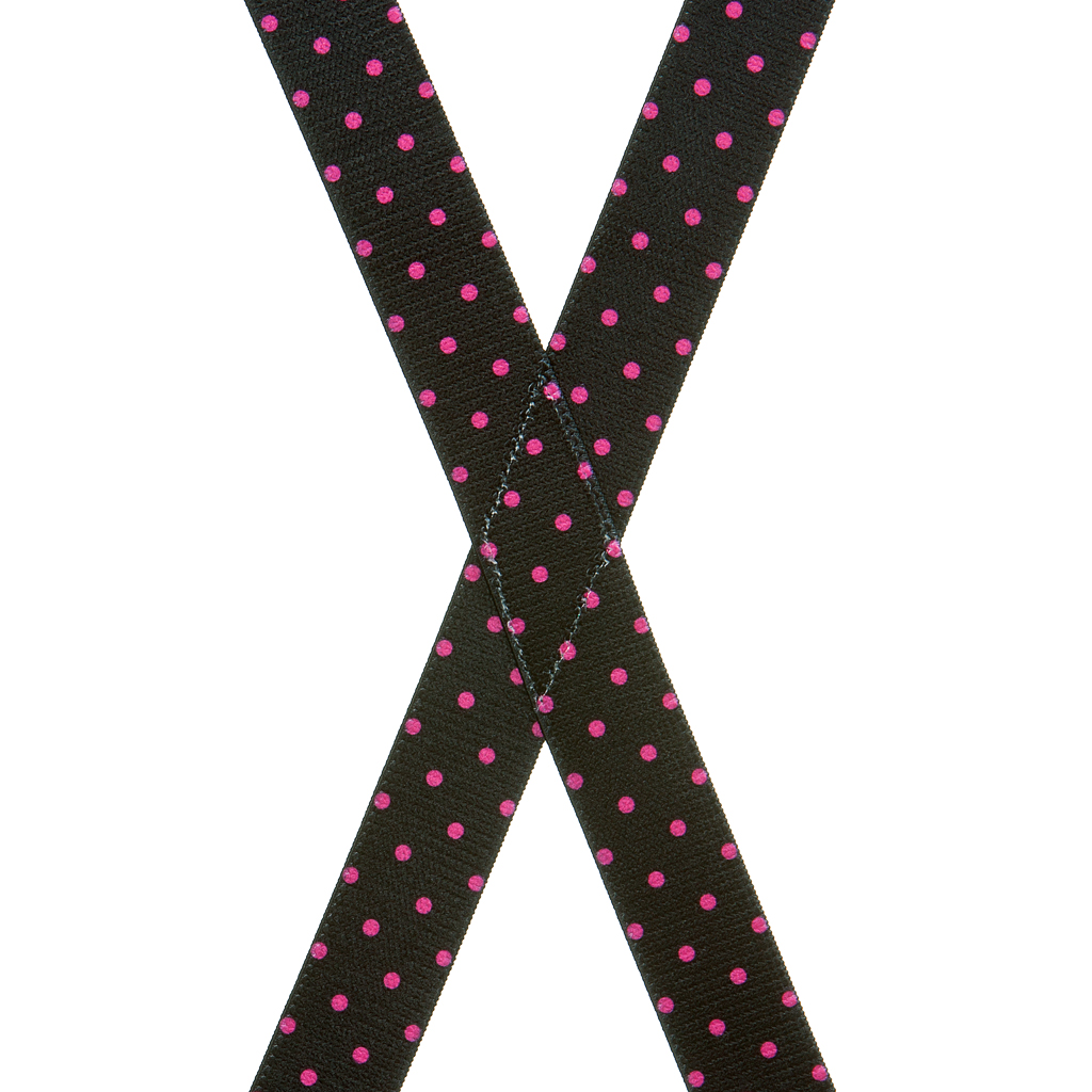 Pink Polka Dots on Black Suspenders - Rear View