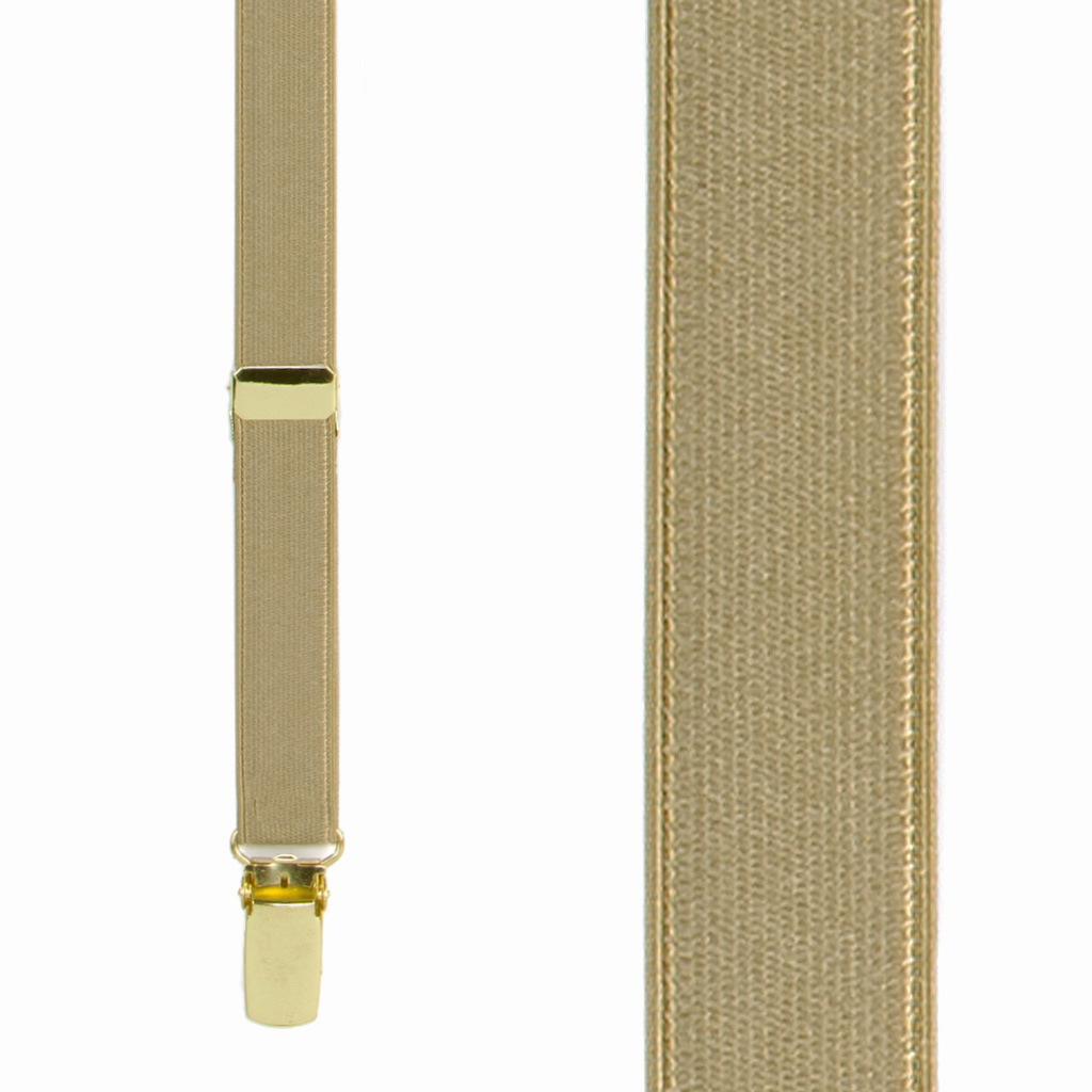 3/4 Inch Wide Thin Suspenders - CAMEL (Satin) - Front View