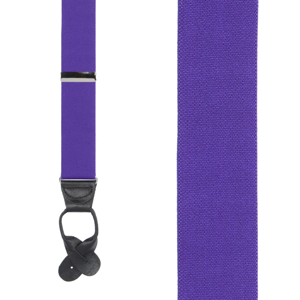 1.5 Inch Wide Button Suspenders in Purple - Front View
