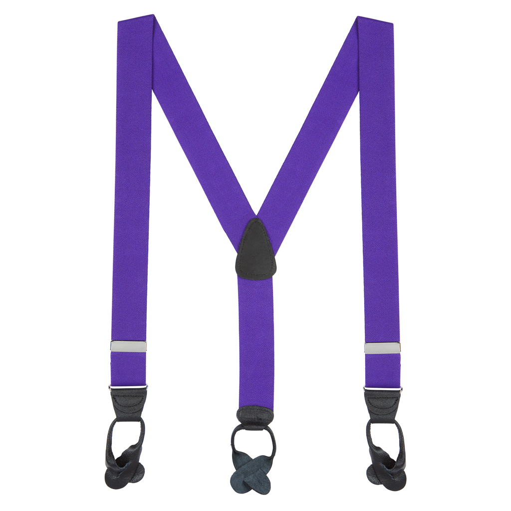 1.5 Inch Wide Button Suspenders in Purple - Full View