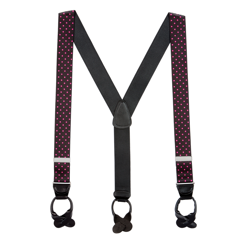 Pink Polka Dots on Black Suspenders - 1.5 Inch Wide Button Full View