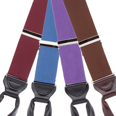 Silk Solid Color Suspenders - Button - All Colors Front View