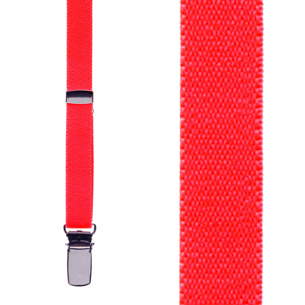 1/2 Inch Wide Skinny Suspenders - NEON RED