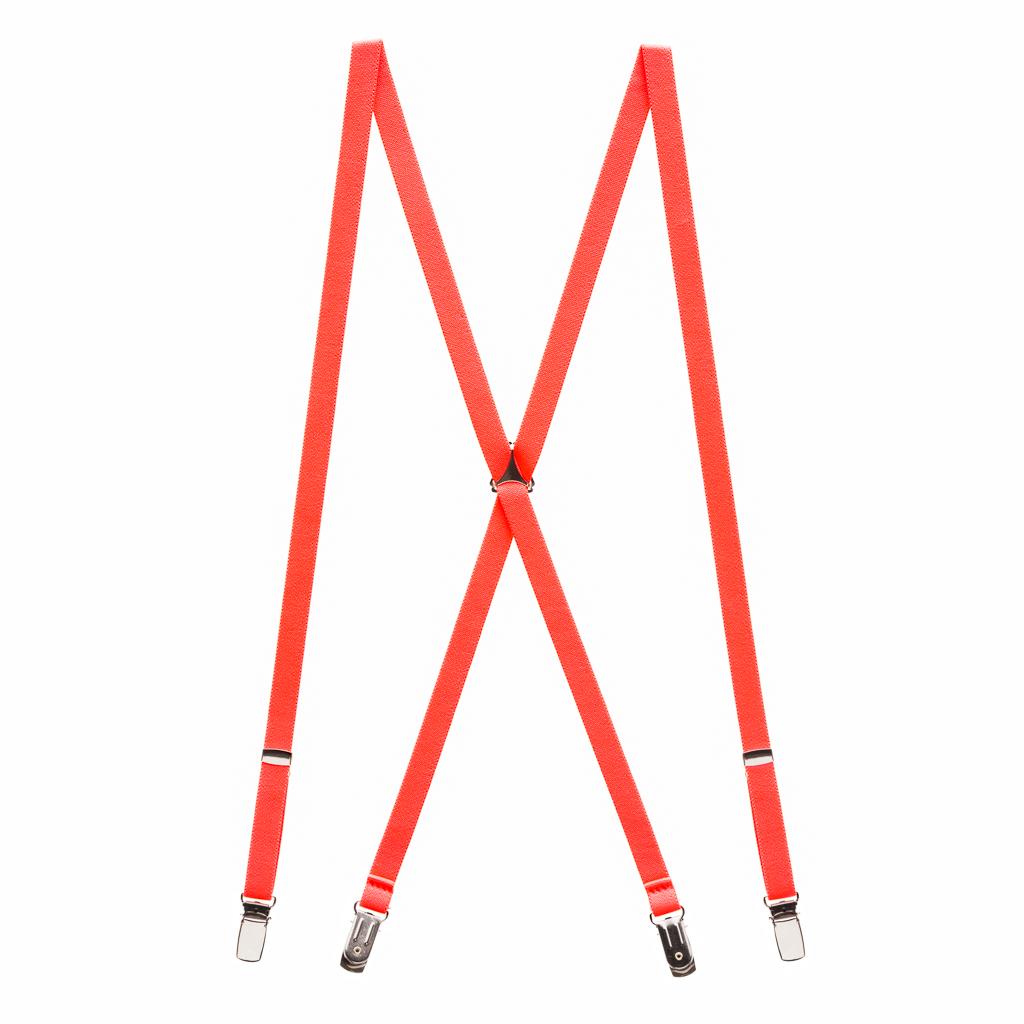 Skinny Suspenders in Neon Red - Full View