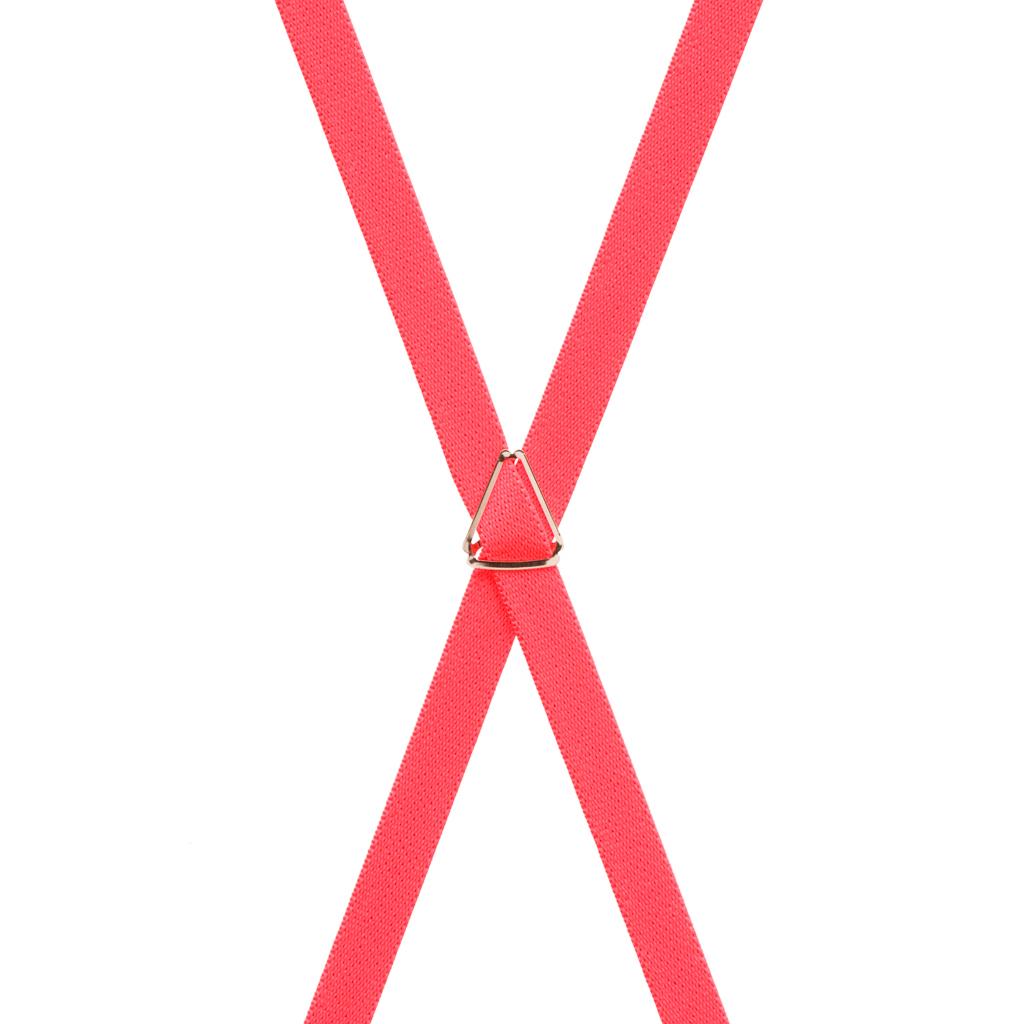 Skinny Suspenders in Neon Red - Rear View