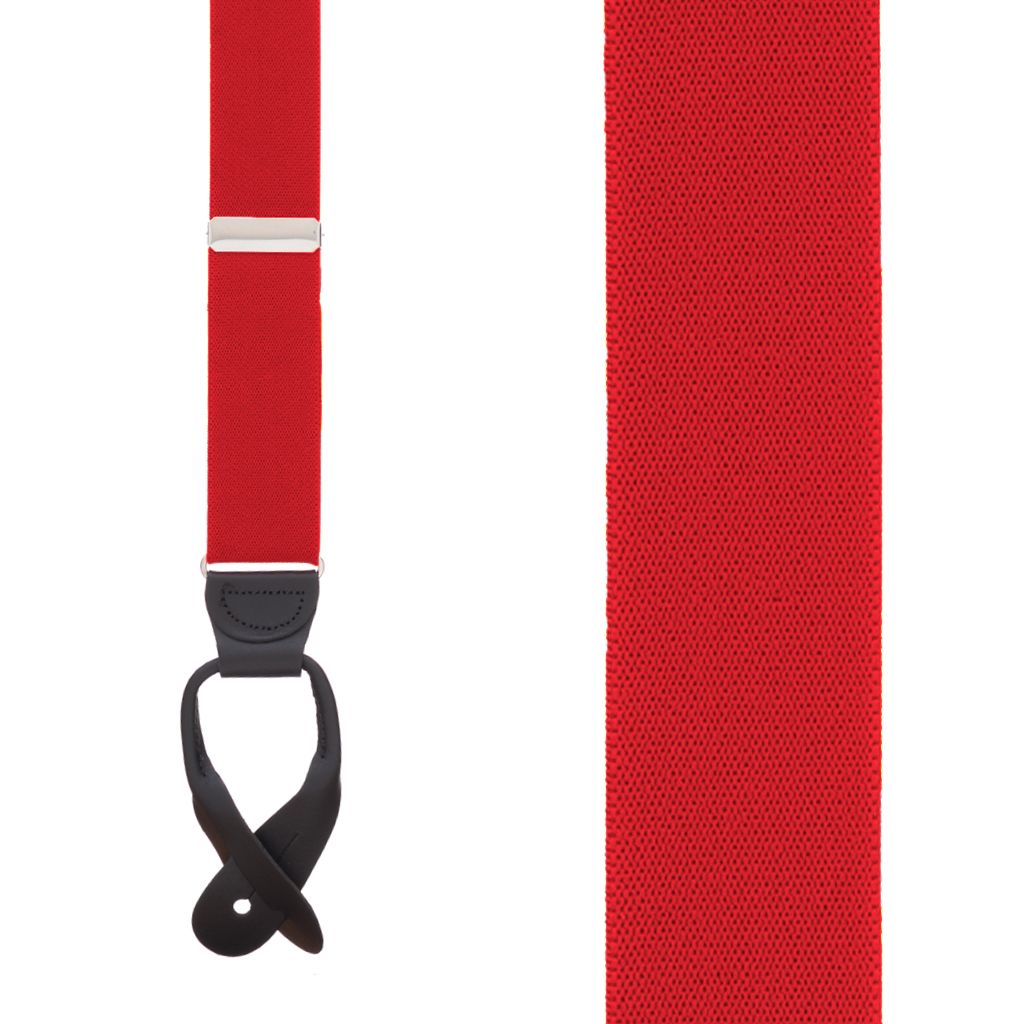1.5 Inch Wide Button Suspenders  in Red - Front View
