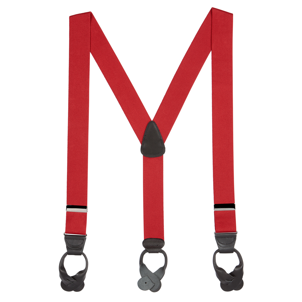 Full View - 1.5 Inch Wide Button Suspenders - RED