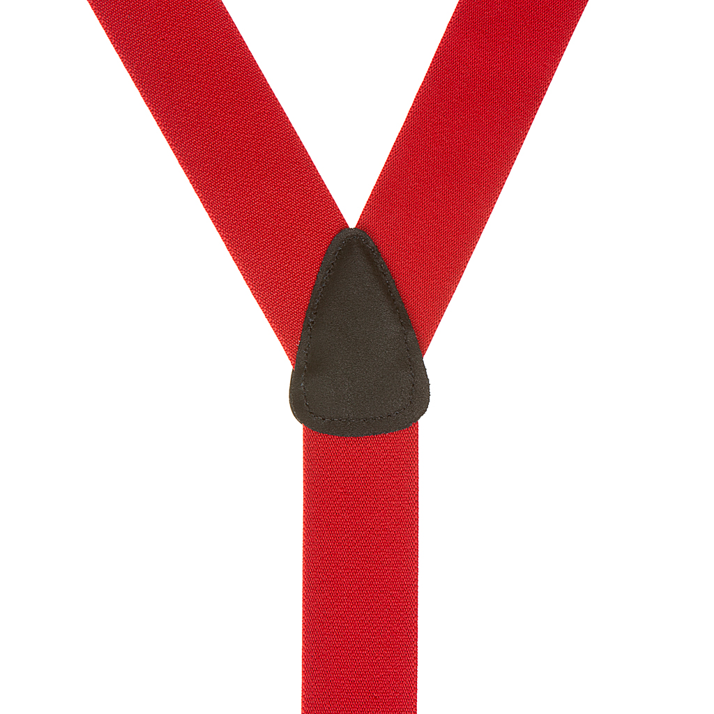 Rear View - 1.5 Inch Wide Button Suspenders - RED