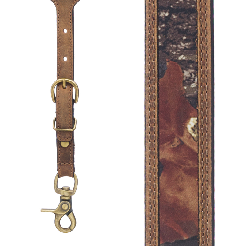 Mossy Oak Camo Western Leather Suspenders - Front View