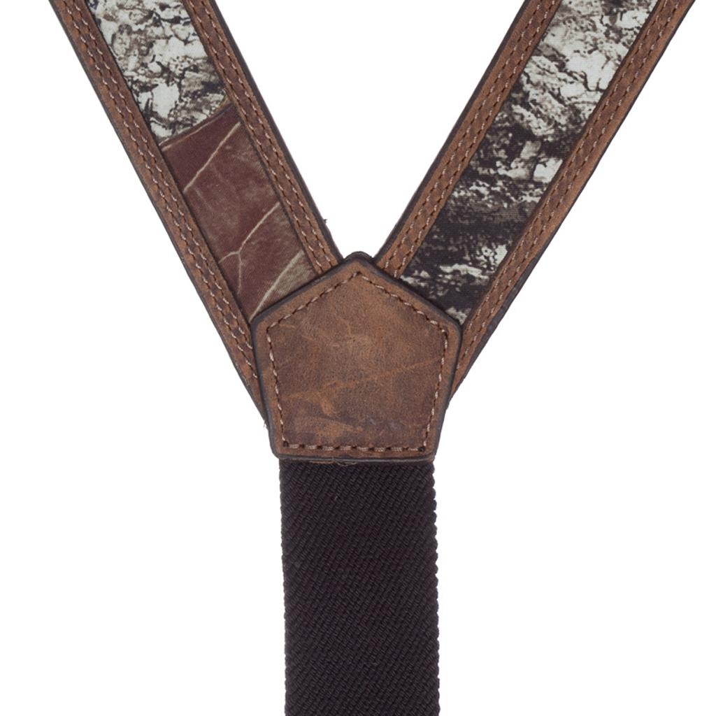 Mossy Oak Camo Western Leather Suspenders - Rear View