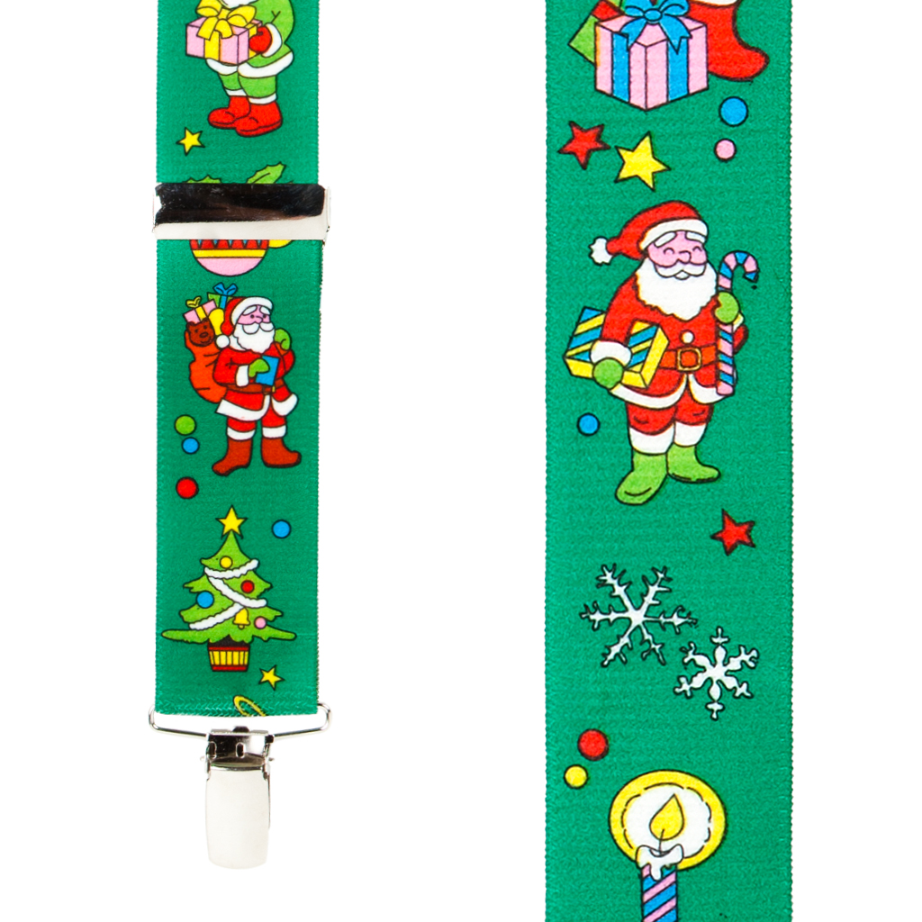 Santa Suspenders in Green - Front View