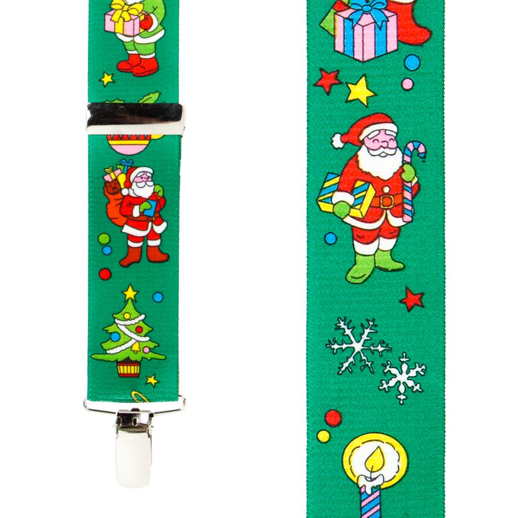 Santa Suspenders in Green - Front View