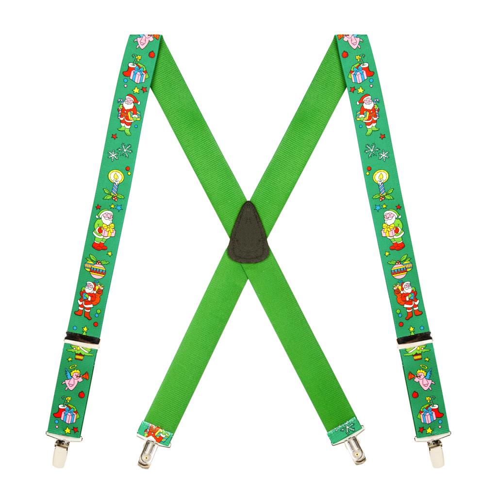 Santa Suspenders in Green - Full View
