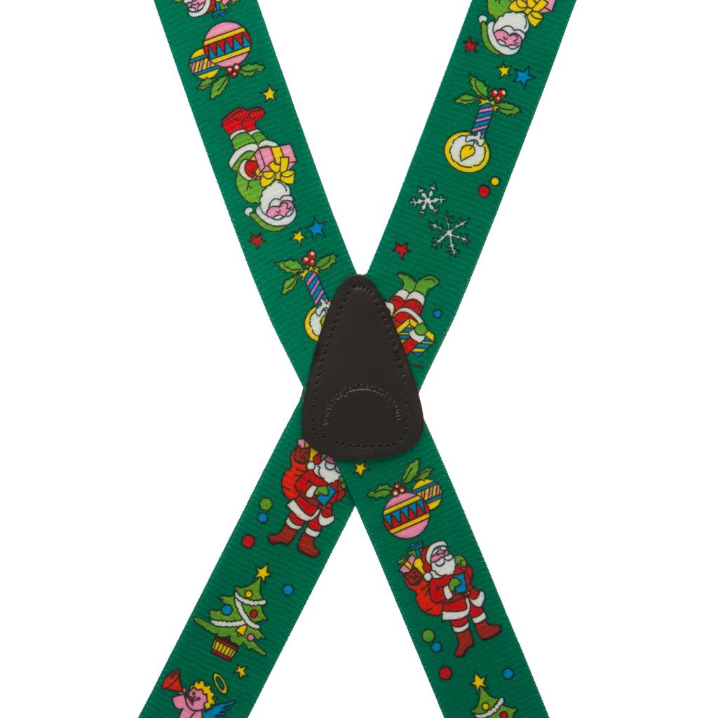 Santa Suspenders in Green - Rear View