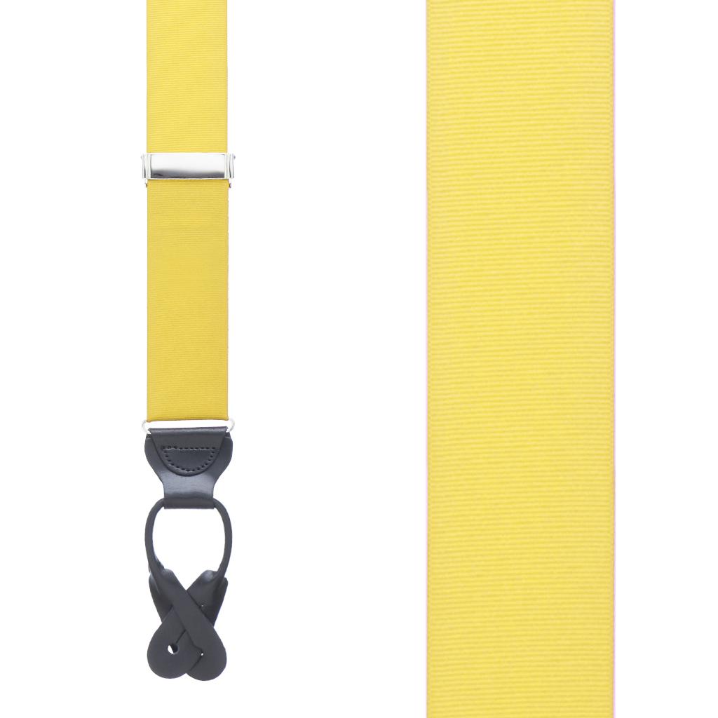 Grosgrain Button Suspenders - Yellow Front View