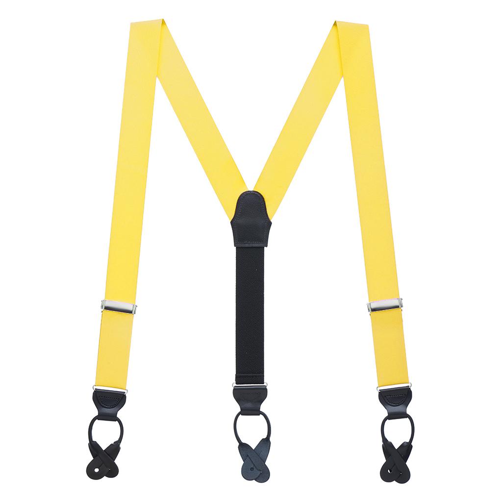 Grosgrain Button Suspenders - Yellow Full View