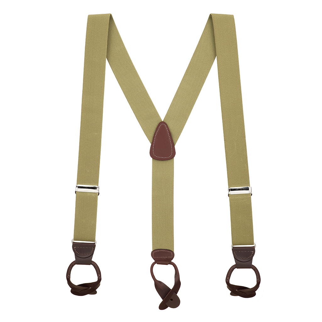 Full View - 1.5 Inch Wide Button Suspenders - TAN
