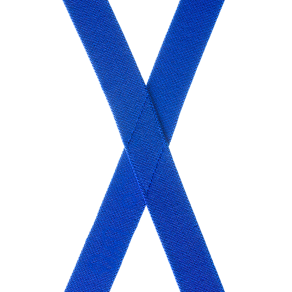 1 Inch Wide Clip Suspenders (X-Back) - ROYAL BLUE